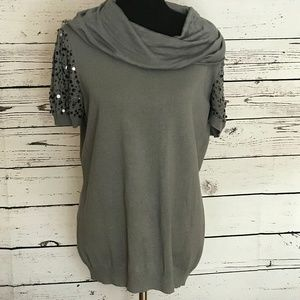 IMAN Gray Knit Cowl Neck Sequined Top Size 1X